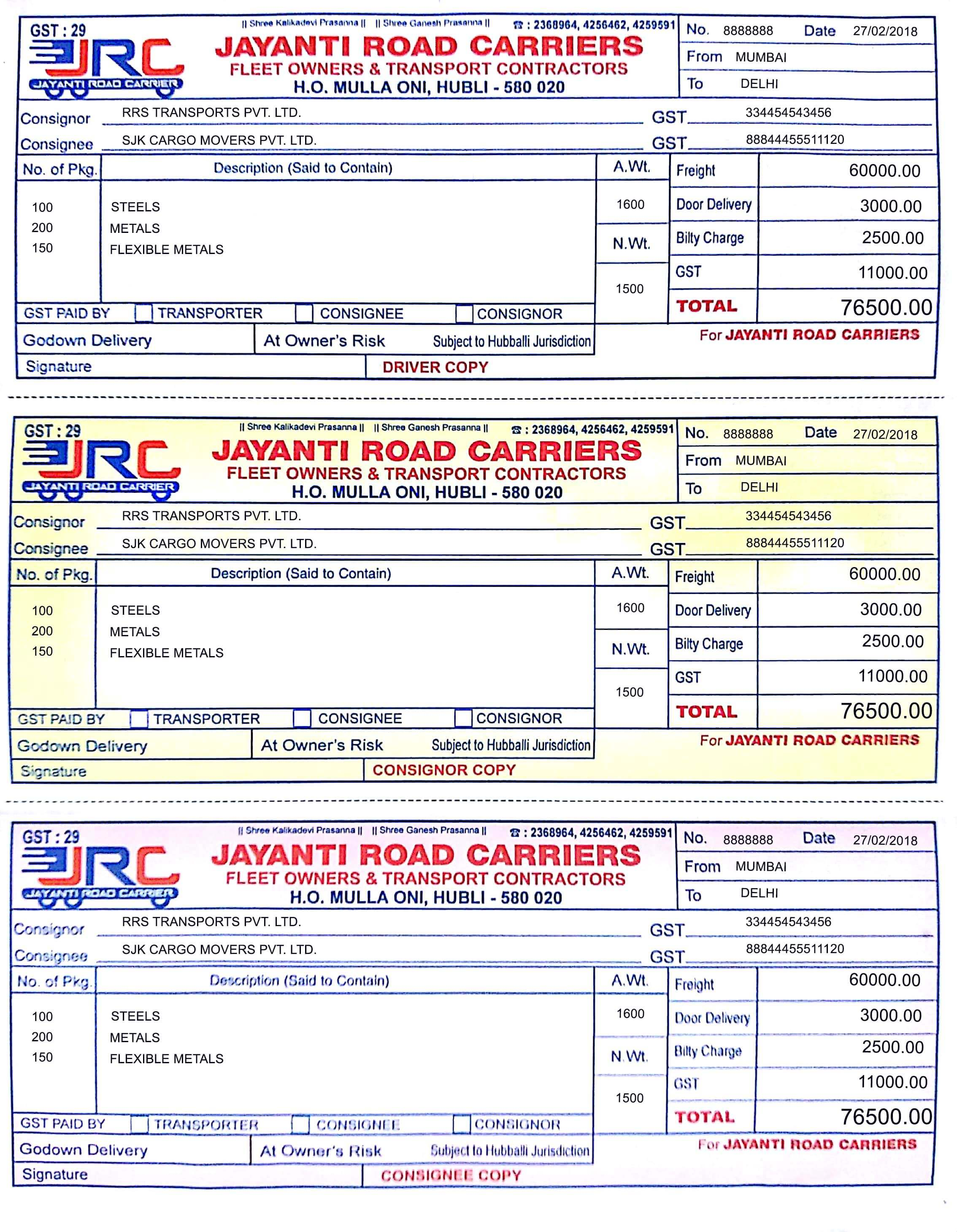 LR - Jayanti Road Carriers